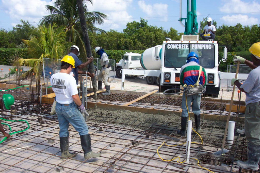 Concrete crews on the job in Grand Cayman.